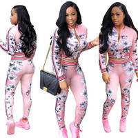 Wholesale Sexy Pants Tops - Autumn Floral Fashion Women Sportsuits Sexy Zipper 2 Pieces Sets Casual Coat Jacket tops And Long Pants Suit Trousers Ladies Tracksuits