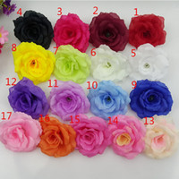 Wholesale Silk Purple Rose Flower Heads - 200PCS 8CM 17Colors Silk Rose Artificial Flower Heads High Quality Diy Flower For Wedding Wall Arch Bouquet Decoration Flowers FR03