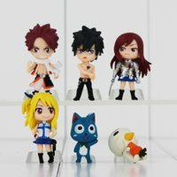 Wholesale Anime Figure Fairy Tail - Anime Fairy Tail PVC Figures Set 6pcs New Natsu Gray Lucy Erza Happy PVC Toys Gifts Collecion Dolls