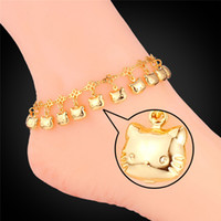 Wholesale Cat Platinum - U7 Cute Kitty Cat Foot Jewelry Platinum 18K Real Gold Plated Anklet for Women Fashion Jewelry Anklet Bracelet Accessories A941