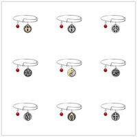 Wholesale Jewelry Rings Peace - 9 Styles Stainless Steel Adjustable Lucky Bracelet Heart Charm Pendant Bangle With Elephants Wish Peace Eight Diagrams Charms Jewelry