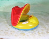 Venda por atacado - Water Play Safety PVC Inflável assento de assento de natação Summer Sports Pool Kiddie Baby Life Buoy Tenda de toldo Handle Wheel Handle