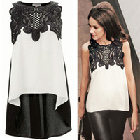 Wholesale 2016 European Style Womens Lace Crochet Chiffon Shirt Sexy Sleeveless Plus Size Ladies Summer Tops