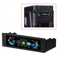 Wholesale Computer Fan Screen - Freeshipping Fan Controller Display 5 Sets LCD Touch Screen Temperature Automatic CPU Case fan speed controller LCD Front Panel
