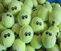 Wholesale Throw Toys - 50pcs lot Cheapest Pet Dog Toy Tennis Balls Run Catch Throw Play Toy Chew Toys random colors