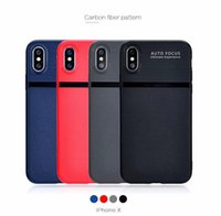 Nuova moda in fibra di carbonio PU TPU in pelle morbida AUTO FOCUS cover in pelle per iPhone X Custodia economica