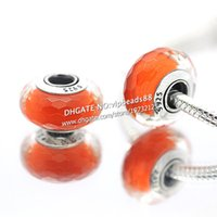 Handmade Lampwork Flowers Red S925 Sterling Silver Fashion jewelry Orange faceted Murano Glass Beads Fit European DIY pandora Charm Bracelets & Necklace