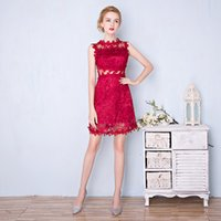 Wholesale Embroidery Slim Plus Size Dress - New Fashion The Bride Married Party Cocktail Dresses Wine Red Lace Embroidery Sleeveless Sexy Slim Formal Dresses Robe De Soiree