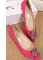 Wholesale Diamond Wedding Heels - spring and autumn Flat shoes diamond Square buckle pointed end Shallow mouth silks and satins Big size women's shoes