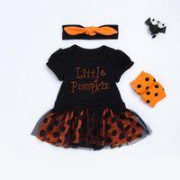 Wholesale onesie dresses - 2017 Halloween Children Sets pumpkin Dots Girls Dress Clothing Sets baby rompers onesie + headbands + polka dot leggings outfits