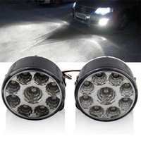 Wholesale Day Driving Lights Led - 2PCS LOT Bright White 9W LED Round Day Fog Light Head Lamp Car Auto DRL Driving Daytime Running DRL Car Fog Lamp Headlight Round Update
