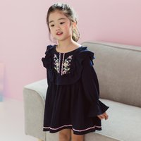 Wholesale Dress Korea Brand - New Arrival Girls Dress Long Sleeve Cotton Flower Embroidered Puff Sleeve Kids Clothes Korea Girl Party Dress Navy Blue WHite A7531