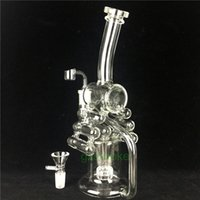 Wholesale violin types resale online - Wax glass bong two functions recycler water pipes heady beaker bongs dab oil rigs bubbler tyre perc violin with bowl quartz banger bowl