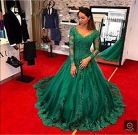 Vintage Green Long Sleeve Lace Evening Gown 2017 V Шея Бальное платье Party Prom Dresses Runway Red Carpet Pageant Платье вечернее платье