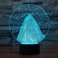Vente en gros - Innovative Kids Gift Round Crystal Modern Snowy Mountains Contrôleur nordique Lampadaire Lside de cheminée 3d LED Night Lights touche tactile