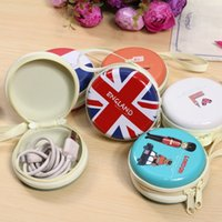 Wholesale Wholesale Small Metal Letter - Women Coin Purse Beauty Tinplate Mini Purse key Wallets Round Headphone Mini Package Change Coin Bag Zipper Love Letter Small Gifts ZD041A