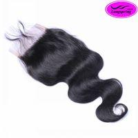 brezilya insan saçı satışı toptan satış-Gümrükleme Satış! Üst Dantel Kapatma Doğal Siyah Brezilyalı Saç Perulu Malezya Hint Dantel Kapatma Virgin İnsan Saç Dantel Boyutu 4 * 4