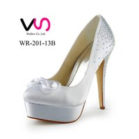 Wholesale Satin Almond Toe Pumps - 2016 New Hot Cinderella Luxury Rhinestones Prom Wedding Shoes Princess High Heel Satin Bow Design Pump Women Bridal Shoes Party Shoes