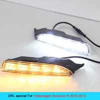 Wholesale Scirocco Turn Light - New 2 Pcs White+Yellow LED Daytime Running light Super Bright Day Fog Light DRL Bulbs Turn Signal for VOLKSWAGEN SCIROCCO 2010~2013