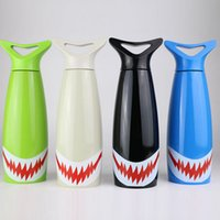 Wholesale Thermos Pot Wholesale - 500ml Cola Shaped Stainless Steel Children's Insulation Pot Water Bottle Creative Thermos bottle Shark Cartoon Free DHL XL-G288