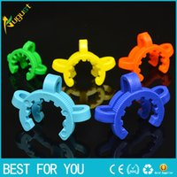 Wholesale Keck Clip 19 - joint Plastic Keck Clip with Yellow Color Plastic Keck Laboratory Lab Clamp Clip for Glass Bong Glass adapter 10 14 19