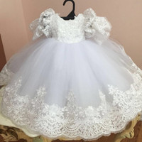 Wholesale Cheap Baby Girl Christening Dresses - New Ball Gown Christening Dresses For Baby Girl Lace Appliques Baptism Gown With Short Sleeves Cheap Tulle Kid First Communication Dress