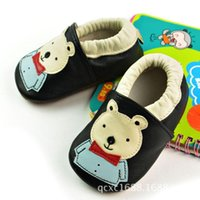 Wholesale Cute Bear Shoes - 2015 new Arrival Black Handmade Genuine leather baby shoes toddler shoes Cute Baby bear patterns Free shipping