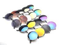 Wholesale Reflective Circle Glasses - Retro Hippie Lens Silver Frame Round Circle Lens Reflective Sunglasses
