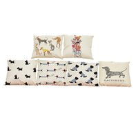 Wholesale Dog Cases Covers - Creative Cute Dog Linen Cushion Cover Home Office Sofa Square Pillow Case Decorative Cushion Covers Pillowcases Without Insert(18*18Inch)