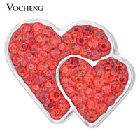 NOOSA 18mm Snap Charms 3 couleurs Bling Crystal Double Love Heart Ginger Snap Jewelry VOCHENG Vn-1056