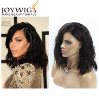 Top Quality Short Full Lace Perucas de cabelo humano para mulheres negras Brazilian Virgin Hair Glueless Long Bob Wavy Lace Front Wig With Baby Hair