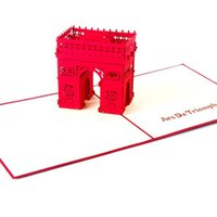 Wholesale Building Arches - New 3D Handmade Card 3D Cutting Triumphal Arch Memorial Greeting Cards Building Card For Holiday Card free shipping