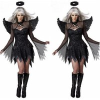 Großhandel-Adult Kostüm Sexy Black Angel Wings Deguisement Sexy Movie Cosplay Kostüme Halloween Kostüme Frauen Cosplay Devil DisfrazCE374