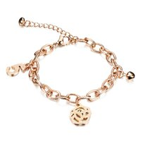 Wholesale Wholesale Gold Plated Initial Bracelets - Adjustable Flower Charm Bracelet with Twist Chain Initial Bracelet Jewelry - Silver, Rose Gold