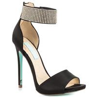 siyah saten dans pabucu toptan satış-Siyah Saten Taklidi Düğün Ayakkabı Stiletto Açık Toe Made-to-sipariş Kadınlar Sandalet Geri Fermuar El Yapımı Örgün Akşam Parti Dans Ayakkabıları