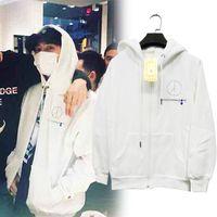 Wholesale Bigbang Logo - High Quality Fashion GD White Jackets LOGO Sweater Bigbang Plus Zipper Cardigan Jacket 2018 Bigbang S M L XL dongguan_wholesale in stock 100