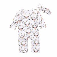 Wholesale Casual Long Jumpsuits - Mikrdoo Autumn Winter Baby Clothes Cute Newborn Kids Girl Casual Long Sleeve Christmas Deer Floral Romper Jumpsuit Headband 2Pcs Wholesale
