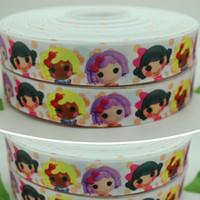 """Wholesale Grosgrain Ribbon Lalaloopsy - 7 8"""" 22mm Big Dolls Cartoon Lovely Lalaloopsy Printed Grosgrain Ribbon Bows Diy Materials Craft Decos Sewing A2-22-6"""