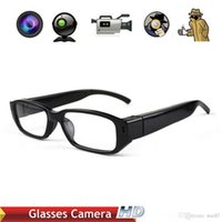 Wholesale spy camera lens glasses - cheap HD Mini Digital Camera HD720P 30fps Camera Eyewear Ultra-thin flat glasses on the left lens Hidden Spy SunGlasses camera Dvr Video