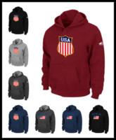 schwarzes flaggen-sweatshirt großhandel-DHL Männer USA icehockey sweatshirts nationalmannschaft warm Pullover kleidung braun rotwein schwarz Herren aufpassen spiel flagge hoodie M-XXXL