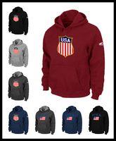 Wholesale flag watch men resale online - DHL Men USA icehockey sweatshirts national team warm Pullover clothing brown red wine black Mens watching game flag hoodie M XXXL