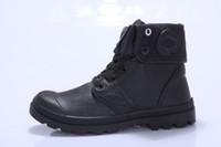 siyah dantel ayakkabıları çizme erkekler toptan satış-Rahat Paladyum Tarzı Ayakkabı Kadın Erkek PU Deri Dantel Up Flats Topuklu Su Geçirmez Siyah Askeri Ayak Bileği Martin Marka Çizmeler