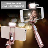 Wholesale Self Stick Led Lights - Wireless Bluetooth Wing Mirror Extendable Handheld Fold Self-portrait Selfie Sticks Holder Monopod With LED Flash Fill Light Selfie Monopod