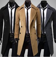 Wholesale Mens Black Trench - New Brand Winter mens long pea coat Men's wool Coat Turn down Collar Double Breasted men trench coat black brown grey size M-XXXL