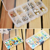 Nouveau gros-plastique 10 Slots Compartiment Bijoux Collier Holder Box Clear Case Storage Craft Organizer Hot Sale