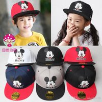 Wholesale Childrens Summer Hats - 20 Design Free Shipping Minnie Mickey Mouse Kids Cartoon Snapback Caps Donald Duck child baseball cap childrens hats E808