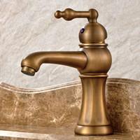faucet de lata de latão antigo de punho único venda por atacado-Torneiras de bronze de água Antique Deck montado único Handle Brass Faucet para bacia cerâmica do banheiro
