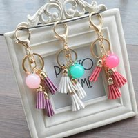 Wholesale phone finder free resale online - Creative Women Candy Color Acrylic Beads Tassel Pendant Keychain Key Ring For Backpack Car Key Chain Phone Accessories Free DHL B801Q A