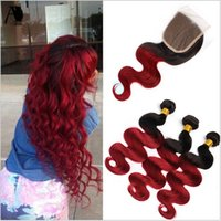 Wholesale ombre red hair weave grade resale online - Grade A Peruvian Ombre Body Wave Virgin Hair With Closure Bundles Two Tone B Burgundy Red Ombre Hair Extensions With Lace Closure