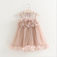 Barato Vestido Da Flor Das Vendas Por Atacado Dos Miúdos-2016 Kids Girls Lace 3D Flower Dresses Baby Girl Princess tutu Vestido Girl Summer Mesh Party Dress Babies Wholesale Clothing